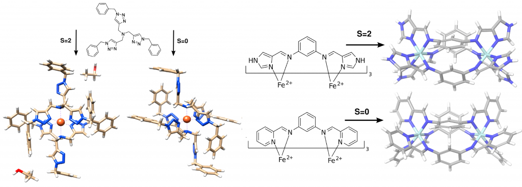 Dependence of the spin state of metal-organic complexes on it packing in a crystal environment.